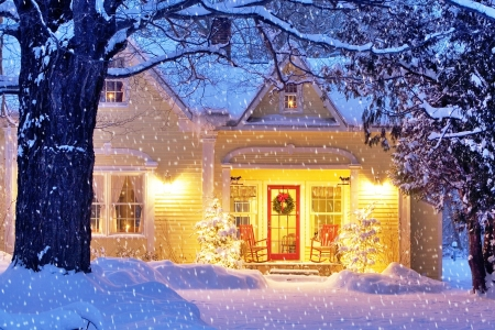 Home for the Holidays ♥ - snowflake, holidays, house, christmas, snow, beautiful, winter
