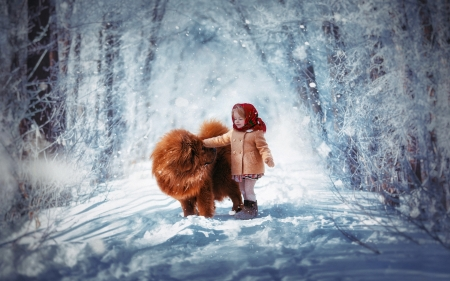 ♥ - cute, snowflake, snow, beautiful, child, dog, winter, sweet