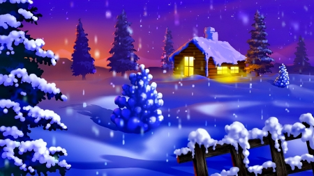 Winter scene - fence, house, cottage, dusk, twilight, winter, cold, snow, snowflakes, snowfall, ice, village, scene, frost