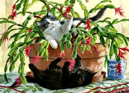 cactus kitties cats f cats art illustration animal christmas