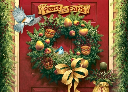 Peace on Earth - Bird - Christmas, art, holiday, December, songbirds, words, beautiful, illustration, artwork, titmouse, painting, wide screen, occasion, scenery