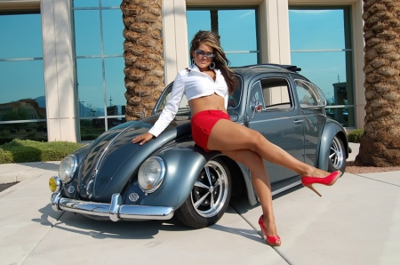 Bobbie and The Beetle - beetle, girl, vw, car, classic, vintage