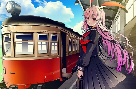 Girl - purple hair, train, long hair, Bunny ear