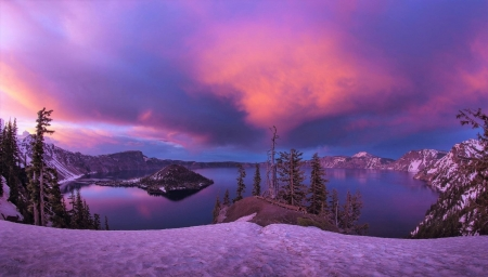 Winter Mountains and Crater Lake at Twilight - Mountains, Sky, Lakes, Twilight, Snow, Nature, Winter