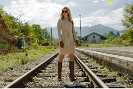 Boots On The Tracks . . - female, cowgirl, boots, railroad tracks, outdoors, women, movies, fashion, blondes, western, style