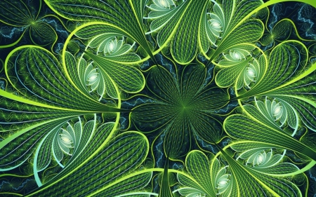 Fractal Leaves - leaves, abstract, green, fractal