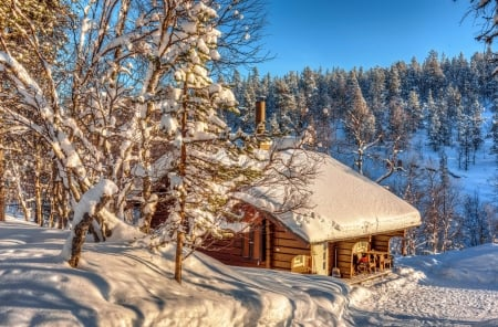 Snowy mountain cabin
