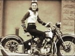 Dot Smith Shows off her bike in 1939