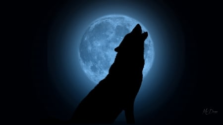 Howling Wolf Blue Moon Other Animals Background Wallpapers On Desktop Nexus Image 2341707