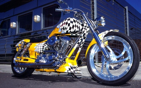 Street King - yellow, davidson, motorbike, chrome, check, racer, harley, wheels