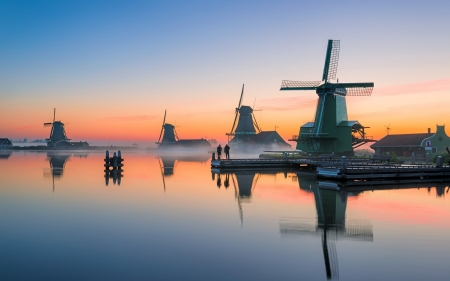 Windmills in Netherlands - sunset, Netherlands, windmills, canal