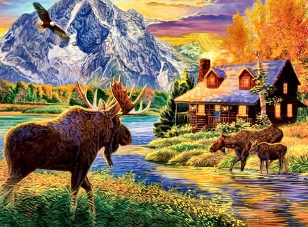 Autumn Glow - Moose F - art, moose, beautiful, illustration, artwork, deer, animal, painting, wide screen, wildlife, nature