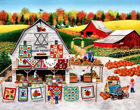 Autumn Quilts - pattern, art, design, beautiful, quilt, illustration, artwork, texture, painting, wide screen, computer graphics