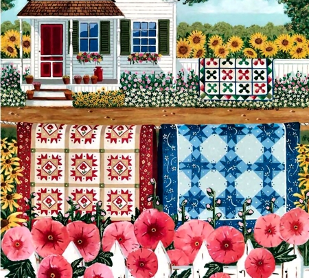 The Quilt Garden - pattern, art, design, beautiful, quilt, illustration, artwork, texture, painting, wide screen, computer graphics