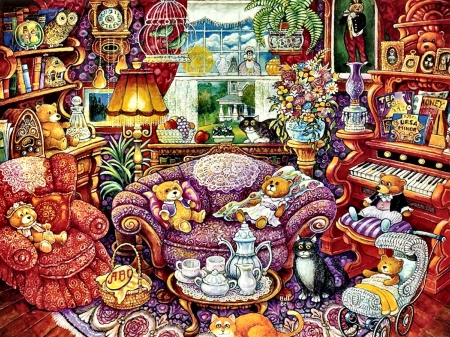 Tea Time for Teddy - art, beautiful, illustration, artwork, teddy bears, stuffed animals, painting, wide screen, toys