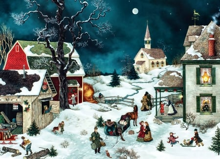 Moonlit Winter - Christmas, art, holiday, December, beautiful, illustration, artwork, winter, snow, painting, wide screen, occasion, scenery