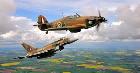 RAF Typhoon With  RAF WWII Spitfire - war, aircraft, ww2, military, jet, spitfire, vintage, typhoon
