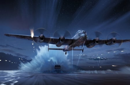 Operation Chastise - dams, war, bouncing, ww2, lancaster, dambuster, raid, bomber