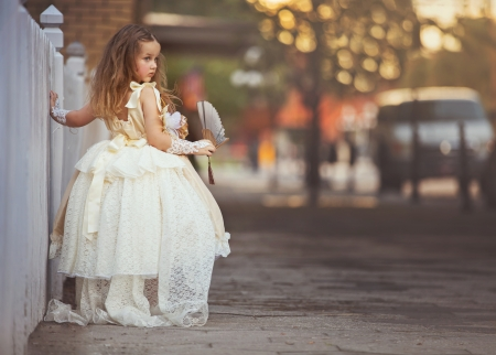 Little girl - jennifer lappe, dress, little, hand fan, girl, copil, child, fan, white, street