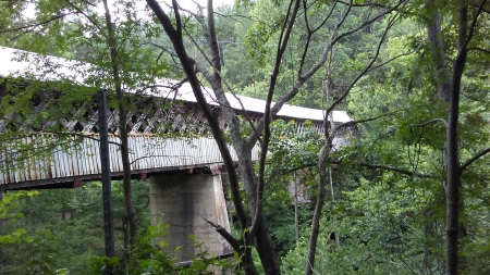 View from under the Covered Bridge, North Alabama - architecture, nature, trees, bridge