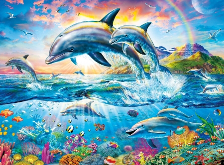 Dolphins - art, luminos, fish, sea, dolphin, fantasy, water, adrian chesterman, painting, summer, pictura, blue