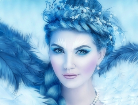 ~Ice Queen~ - photomanipution, queen, love four seasons, creative pre-made, digital art, woman, xmas and new year, winter, fantasy, snow, weird things people wear, feathers