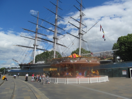 Cutty Sark & Carousel - Sailboats, Boats, Greenwich, UK, Clippers