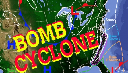 Bomb Cyclone 2018 - USA, Map, Bomb, Cold, Freeze, Cyclone, 2018, Ice