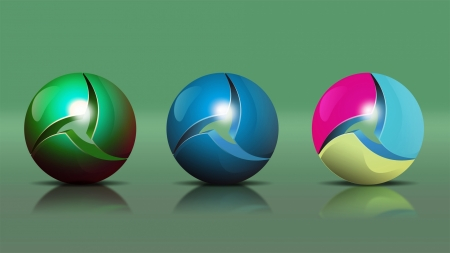 Three Balls - balls, colors, globule, globes, sphere, Firefox Persona theme