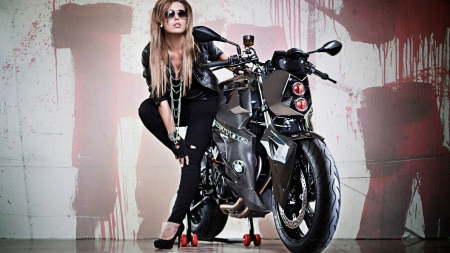 harley and the blonde - davidson, girl, harley, motorcycle