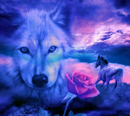 Wolf Spirit Fantasy Abstract Background Wallpapers On