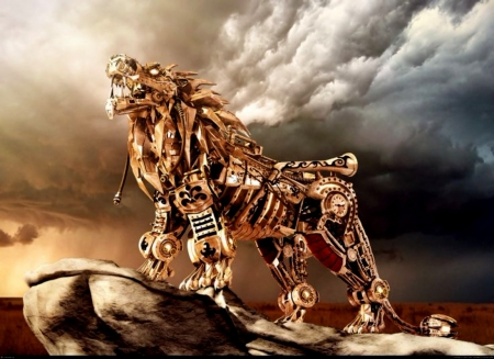 Nemean Lion Steampunk - Lion, Nemean, Steampunk, Fantasy