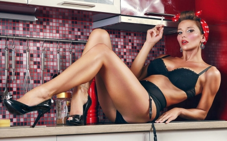 New And Improved Betty Crocker - sexy, kitchen, Model, Retro, vintage, Black lingerie, hot, cigarette, female, Head scarf