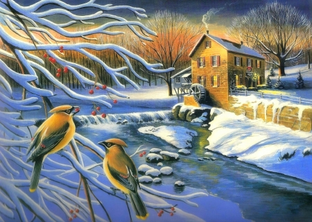 Winter Mill Creek - Christmas, draw and paint, holidays, mill, love four seasons, birds, creek, attractions in dreams, xmas and new year, winter, paintings, snow