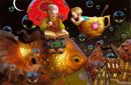 Grandmother's tales - red, fish, umbrella, grandmother, fantasy, moon, painting, bubbles, child, pictura, victor nizovtsev, night, art, luna, luminos, black, boy, cup, summer, copil