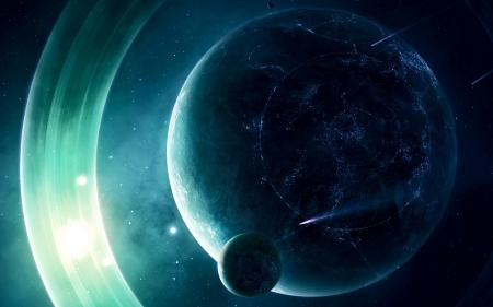 Planets - fantasy, planet, luminos, space, cosmos, blue