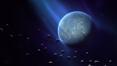 Planet - cosmos, asteroid, blue, luminos, fantasy, planet, space