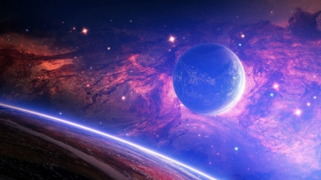 Planet - cosmos, pink, blue, luminos, fantasy, planet, purple, space