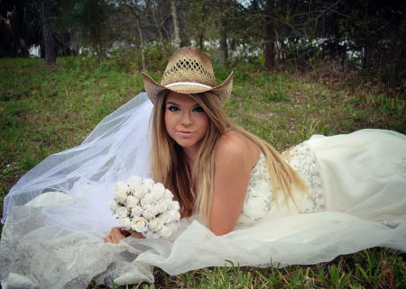 A Cowgirl Bride - Dress, Cowgirl, Women, Grass, White, Beautiful, Outside, Hats, Models, Hat