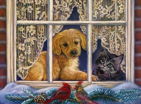 Friends in Winter - cardinals, window, snow, painting, artwork, dog, puppy