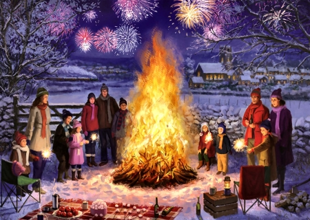 Bonfire Night F - art, fireworks, illustration, people, wide screen, beautiful, bonfire, painting, artwork
