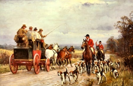 A Hunt Passing a Coach - art, equine, beautiful, horse, pets, illustration, artwork, canine, animal, painting, wide screen, dogs