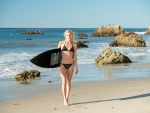 Bikini Surfer on Malibu Beach