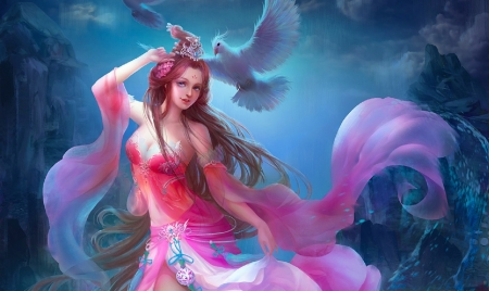 Girl in Pink with Birds - lovely, art, pink, fine, birds, fantasy, pretty, woman, digital, girl, beautiful, veils