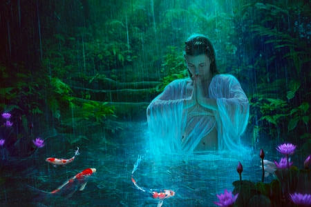 Water Magic - lovely, art, water, night, flowers, fantasy, fish, pretty, woman, praying, girl, digital, beautiful, pond