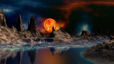 Red Moon - mysterious, rocks, moon, fantasy, stars, sky, red moon, mountains, lake, reflection
