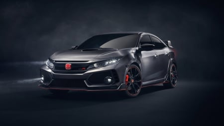 Honda Civic Type R - Honda Civic Type R, cars, vehicles, front view, honda, gray cars