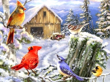 Frosty Morning Song - woods, snow, farms, winter, paintings, attractions in dreams, Christmas, holidays, birds, animals, winter holidays, xmas and new year, love four seasons