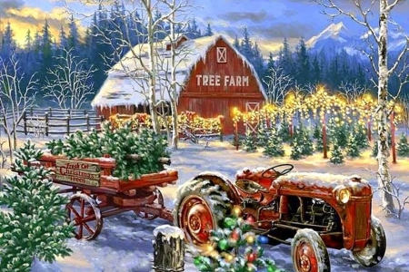 Holiday Farm - Christmas, holidays, tractor, Christmas Tree, love four seasons, farms, attractions in dreams, xmas and new year, winter, paintings, snow, winter holidays