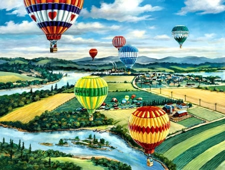 Ballooner's Rally - art, flight, beautiful, illustration, artwork, aircraft, balloons, painting, wide screen, scenery, aviation